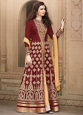 Maroon Embroidered Anarkali Suit