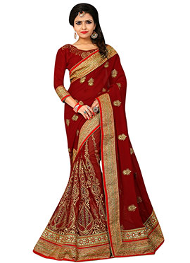 Maroon Embroidered Half N Half Saree