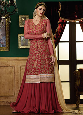 Maroon Embroidered Long Choli Lehenga