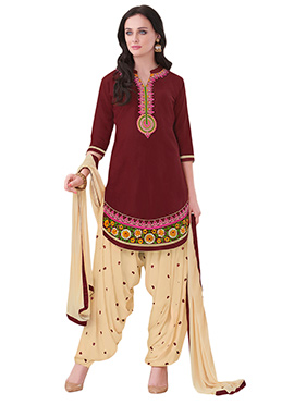Maroon Embroidered Patiala Suit