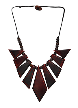Maroon Geometric Motif Enhanced Neckpiece
