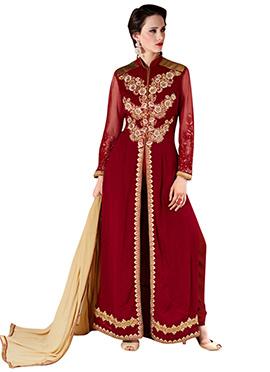 Maroon Georgette Center Slit Pakistani Suit