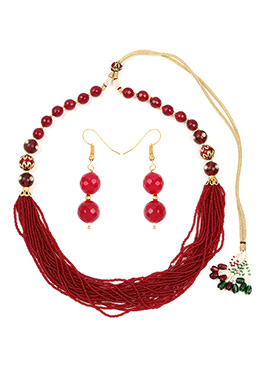 Maroon Multilayered Beads Necklace Set