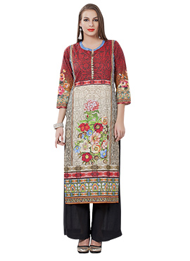 Maroon N Beige Cotton Long Kurti