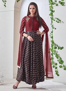 Maroon N Black Anarkali Suit