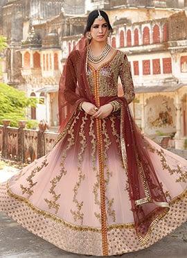 Maroon N Light Pink Sequins Anarkali Suit