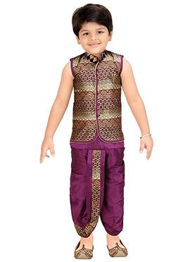 Maroon N Purple Blended Cotton Kids Dhoti Kurta Set