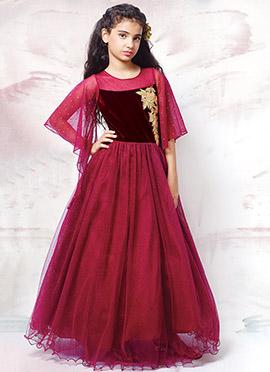 Maroon Net Dress
