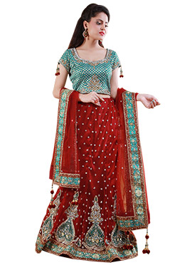 Maroon Net Embellished Lehenga Choli