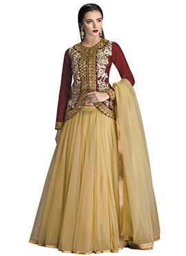 Maroon Net Embroidered Long Choli Lehenga