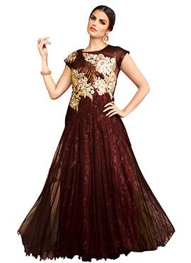 Maroon Net N Taffeta Anarkali Gown