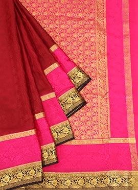 Maroon Pure Mysore Silk Jacquard Saree