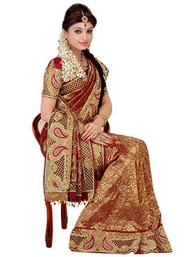 Maroon Pure Silk Zari Weaving Designed Saree