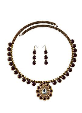 Maroon Stone Beautified Choker Necklace Set