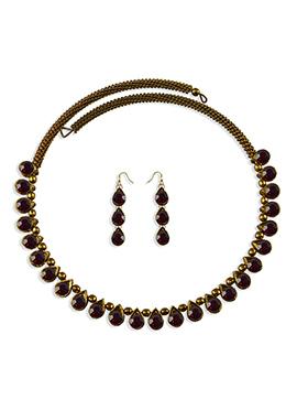 Maroon Stone Embellished Choker Necklace Set