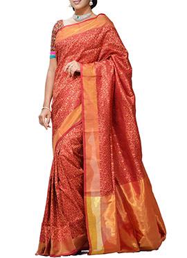 Maroon Uppada Benarasi Handloom Silk Saree