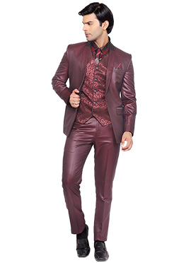 Maroon Viscose Lapel Style Suit