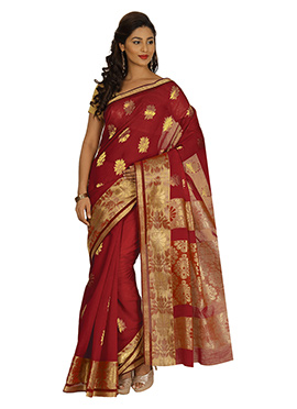 Maroon Zari Weaving Silk Cotton Saree
