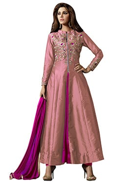 Mauve Embroidered Anarkali Suit