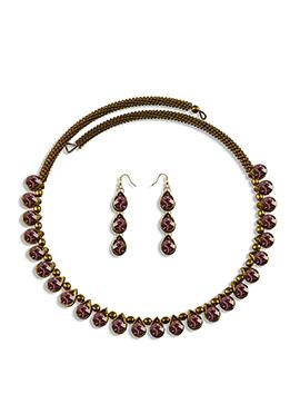 Mauve Stone Embellished Choker Necklace Set