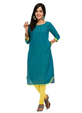 Maybell Teal Cotton Kurti