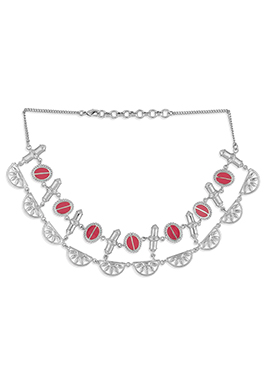 Meenakari Enhacned Silver Colored Necklace