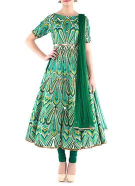 Megha And Jigar Green Shade Anarkali Suit
