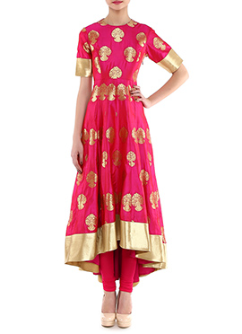 Megha And Jigar Fuchsia Pink Anarkali Suit