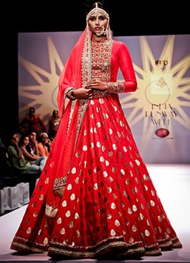 Megha And Jigar Red Floor Length Anarkali