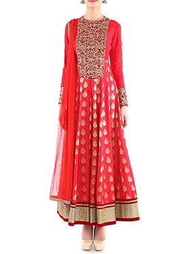 Megha And Jigar Salmon Pink Anarkali Suit