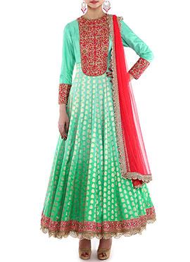 Megha And Jigar Sea Green Anarkali Suit