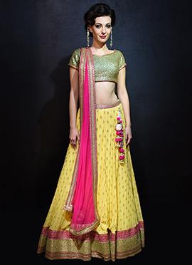 Megha And Jigar Yellow A Line Lehenga Choli