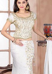 Mod White Tissue Lehenga Choli