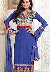 Modish Blue Cambric Cotton Churidar Suit