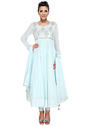 Modish Blue Georgette Anarkali Suit