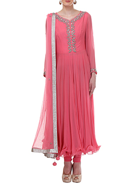 Moonlight Brink Pink Georgette Anarkali Suit