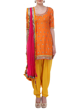 Moonlight Orange Patiala Suit