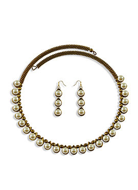 Moti Embellished Choker Necklace Set