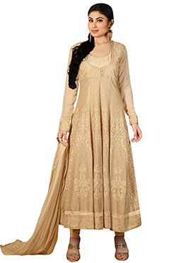 Mouni Roy Beige Anarkali Suit