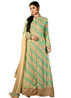 Mouni Roy Beige N Green Anarkali Suit