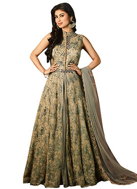 Mouni Roy Dark Beige Anarkali Suit