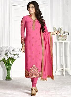 Mouni Roy Honeysuckle Pink Straight Suit