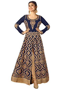 Mouni Roy Navy Blue Anarkali Suit