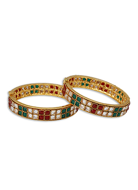 Multicolor Stone Gold Plated Bangles