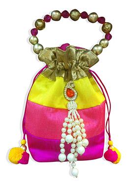 Multicolored Art Dupion Silk Potli Bag