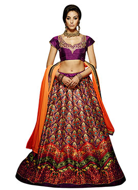 Multicolored Art Silk A Line Lehenga Choli
