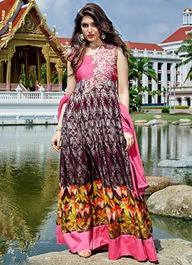 Multicolored Art Silk Ankle Length Anarkali Suit