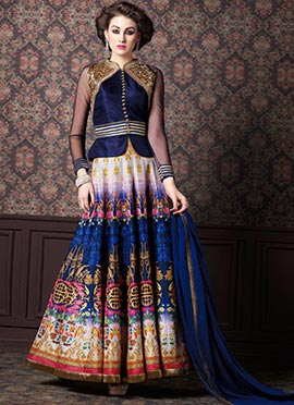 Multicolored Art Silk Ankle Length Anarkali Suit