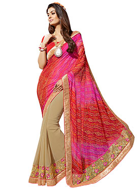 Multicolored Bandhini Half N Half Saree