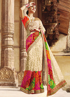 Multicolored Bandhini Patterned Saree